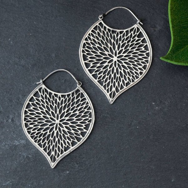 Sterling Silver Petal Cutout Earrings